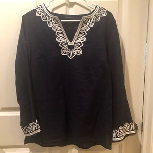 Ladies navy Talbots tunic with embroidery
